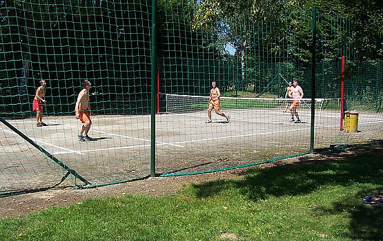 Court for volleyball and foot tennis